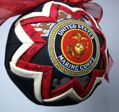Quilted USMC Christmas Ornament Red Gold Black by kre8ivLizard, $24.00