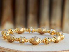 Gold wedding Bracelet Beaded bridal bracelet by SheJustSaidYes, $26.00