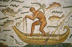 Roman Mosaic. Sailor in a boat with a ship's anchor. Tunis, Tunisia.