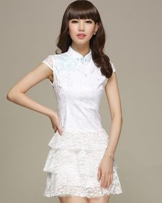 Simple Style White Lace Mandarin Collar Ruffle Skirt Modern Chinese Qipao  Dress - iDreamMart.com. Mildred Chan · Cheong sam   batik dresses db3aa51992