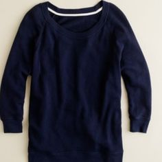 Slouchy Dolman-sleeve Sweatshirt Lightly worn. Super comfy. Last photo is to show how it can be worn. 100% cotton. Navy. J. Crew Tops Sweatshirts & Hoodies
