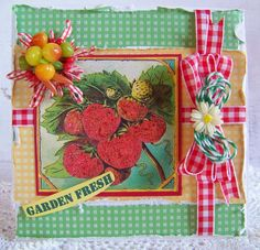 Nellies Nest: Garden Fresh Card using image from Crafty Secrets Digital Garden Scraps and paper from Retro Kitchen Kit