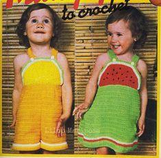 Toddler Sewing Patterns, Baby Girl Dress Patterns, Vintage Dress Patterns, Crochet Patterns, Crochet Toddler Dress, Crochet Fruit, Toddler Pants, Cute Baby Girl, Girls Dresses