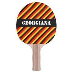 #stripes - #German Flag Colors Stripes Pattern  Custom Name Ping Pong Paddle