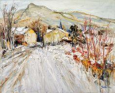 """Jean-Paul SURIN """"Village ardenais"""" Huile sur toile   73x60 Abstract Landscape, Landscape Paintings, Landscapes, Musée Rodin, Snow Art, Post Impressionism, Winter Landscape, Art Sketches, Watercolor"""