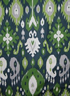 Emerald Green Navy and Gray Ikat Print Pure Cotton Fabric from Dear Stella--One Yard