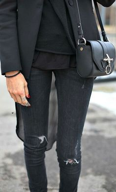 black i like this look torn black jeanjust a little
