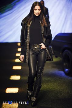 Fashion model Irina Shayk in leather pants and boots by Philipp Plein
