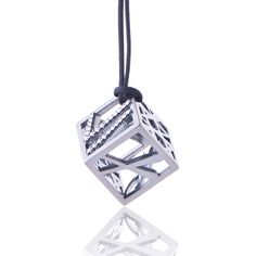 2016 Black gold plated sterling silver charm with cubic zirgonia and a cord. Dimensions: 15 X 15 X 15 mm. Γούρι 2016 παντατίφ σε ασήμι 925 με μαύρο επιπλατίνωμα με λευκές πέτρες σε κορδόνι.  Διαστάσεις : 15 X 15 X 15 mm