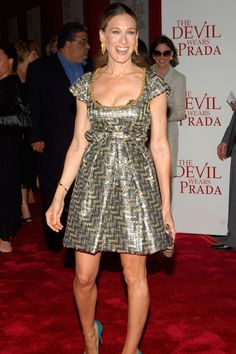 June 19 2006 In a metallic dress for the New York premiere of The Devil Wears…