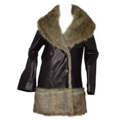 CHANEL 2010 Black Leather Coat w/ Faux  Fur Trim sz 38