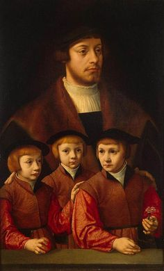 Bartholomäus Bruyn (I) - Portrait of a Man with Three Sons - WGA03662.jpg