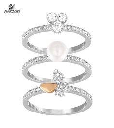 Swarovski Clear Crystal Set of 3 Rings CUTE Butterfly/Three Stone/Pearl