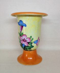 Vtg Gold Castle Hand Painted Porcelain Ceramic Chikusa Vase Floral 1950's Japan Another beauty!