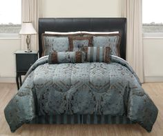 "11 Piece Cal King Manchester Jacquard Blue and Chocolate Bed in a Bag Set by KingLinen. $124.99. This luxurious comforter set features classic regal design in jacquard fabric, stripe accents on the bed skirt and accessories further enhance the look , an elegant set that will be great for any bedroom. 3 decorative pillows included.FeaturesSize: California KingColor: Blue/Chocolate100% PolyesterMachine washableThis set includes:1  Comforter (104""x90"")2  Shams (20""x36"")1  Beds..."