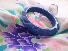 Cobalt Blue Bangle Bracelet, Chunky Rope Texture,Vintage 80s. $8.00, via Etsy.