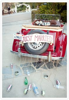 Just this week my mom was recalling the cans tied to the getaway car when she and my father married.  That was so common in the 1960s, too.  And friends and family would follow the bride and groom for miles with lots of honking.  What happened to that silly tradition, I wonder?