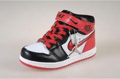 01e0abee8c7374 Nike Jordan Retro 1 Kids Black and Red and White Basketball Sneaker 49607  CAD95.97