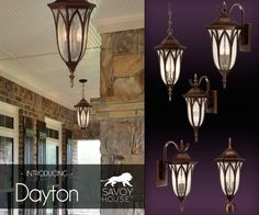 New from Savoy House, the Dayton outdoor lighting line features decorative detailing, seeded glass panes and a textural new tortoise shell finish for shining style.