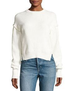 HELMUT LANG Ribbed Cotton Pullover Sweater, White. #helmutlang #cloth #
