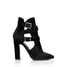 Tamara Mellon Highway Boot (€180) ❤ liked on Polyvore featuring shoes, boots, ankle booties, heels, sapatos, zapatos, thick heel booties, chunky heel ankle booties, cut-out ankle boots and high heel ankle booties