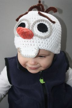 YES!!!! I must HAVE THIS! Frozen's Olaf Snowman Hat EASY Crochet Pattern  by HulaLoopDesigns, $5.00