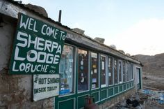 The fantastic Sherpa Lodge with its yak dung fires in freezing Lobuche Nepal