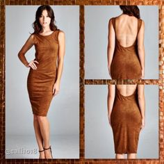 🌺HOST PICK🌺Camel Faux Suede Bodycon Dress Brand new fitted, sleeveless, scoop neck bodycon dress. Scoop open back. This dress is made from medium weight fabric, faux suede fabric that is soft and has great stretch. Made U.S.A and fits true to size. Fabric: 94% Polyester 6% Spandex; This dress comes in S/M/L Glam Squad 2 You Dresses Midi