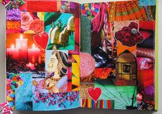 MakeArtBeHappy: New gluebook pages Collage Book, Color Collage, Collage Art Mixed Media, Book Art, Art Journals, Travel Journals, Journal Art, Art Journal Inspiration, Journal Ideas