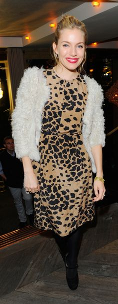British actress and Burberry A/W13 campaign star Sienna Miller wearing Burberry in London last night