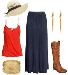 red tank, navy maxi skirt, brown boots, gold accessories