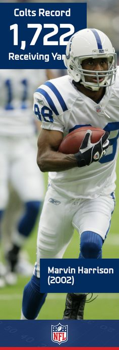 Wide out Marvin Harrison was a fan favorite weapon who could strike fear into the hearts of opposing backs. His 1,722 receiving yards in 2002 came in the same season he set the NFL record for single season receptions.