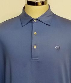 Peter Millar Summer Comfort Mens Polo Shirt Solid Blue Size Large  #PeterMillar #PoloGolf