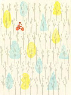 Illustration by Jing Wei (via designworklife) #JingWei #trees #bike