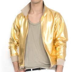 @Overstock - Sleek and bold, this stylish jacket from American Apparel features shiny lamé construction. With a stand collar and four pockets, this jacket is finished with a banded hem and cuffs.http://www.overstock.com/Clothing-Shoes/American-Apparel-Lam-Gold-Shiny-Windbreaker/6395632/product.html?CID=214117 $45.99