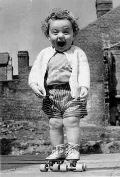 Happy on rollerskates!