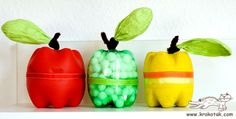 plastic bottle apples!! a great fall craft and #homeschool activity.