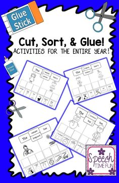 Speech Time Fun: Cut, Sort, and Glue! Activities for the entire year!! Have fun working on expressing utterance length and categorization with this fun thematic pack!