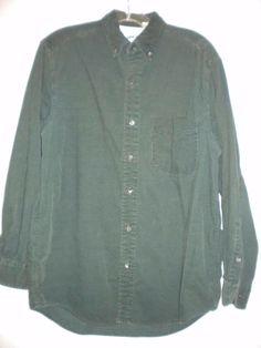 Banana Republic Size Small Buttoned Collar Hunter Green Mens Corduroy Shirt #BananaRepublic #ButtonFront