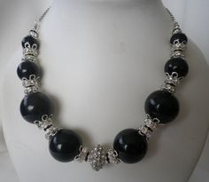 Luxury Black Silver and Pave Rhinestone Necklace and by firstfan, $10.00