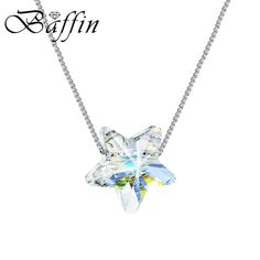 Star Necklaces Pendants Crystals From Swarovski Silver Color Chain Necklaces For Women Office Jewelry #Swarovski #Silver #Necklaces #Jewelry