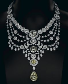Fancy Yellow And White Diamond Necklace