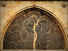 Carved stone window of the Sidi Salyyed Mosque in Ahmedabad, Gujarat, India