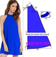 Fashion Sewing, Diy Fashion, Fashion Dresses, Blue Dress Casual, Casual Dresses, Dress Sewing Patterns, Clothing Patterns, Vestido Casual, Diy Dress