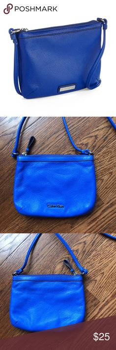 Blue Leather Crossbody Soft beautiful blue leather. Like New condition   No Trading   Reasonable Offers are Always Welcomed Calvin Klein Bags Crossbody Bags