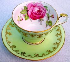 Aynsley Fancy Humongous Pink Rose Light Green Cup & Saucer  1930s | Pottery & Glass, Pottery & China, China & Dinnerware | eBay!