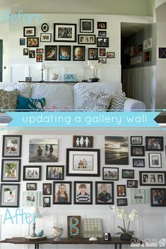 This statement gallery wall is big, beautiful and was easy to create! With these step-by-step instructions on how to recreate one for your home! This coastal styled, light and bright living room just got a huge punch of color and drama with this gallery wall.