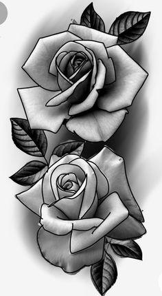 Rose Tattoo Stencil, Rose Drawing Tattoo, Flower Tattoo Drawings, Tattoo Outline, Tattoo Design Drawings, Floral Tattoo Design, Skull Tattoo Design, Flower Tattoo Designs, Armband Tattoo Design