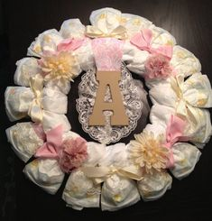 Custom Personalized SHABBY CHIC Theme Diaper Wreath Baby Shower Gift Decoration Girl Any Initial Lace Pink Vintage Floral Burlap via Etsy