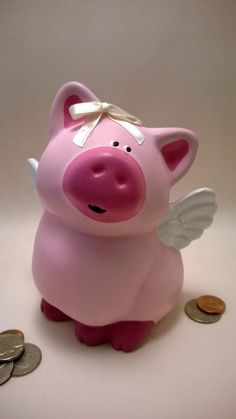 Priscilla the Hand Painted Flying Pig Piggy Bank